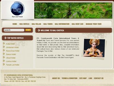 bali exotica web interface